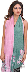 Pink and Green Reversible Scarf with Woven Flowers on Border