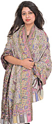Lily-White Cashmere Kani Shawl with Woven Paisleys All-Over