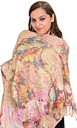 Multicolor Digital-Printed Stole with Ari-Embroidery All-Over