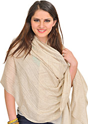 White-Swan Reversible Cashmere Stole with Self-Weave, as an Imitation of Shahtush