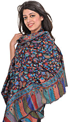 Licorice-Black Cashmere Kani Shawl with Woven Paisleys in Multicolor Thread