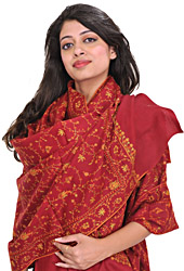 Tibetan-Red Tusha Shawl from Kashmir with Sozni Hand-Embroidery All-Over