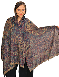 Reversible Semi-Cashmere Jamawar Stole with Woven Paisleys