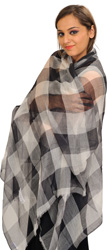 Black and White Shawl with Woven Checks