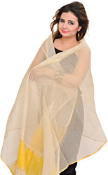 Cream Dupatta from Banaras with Woven Zari Stripes and Solid Border