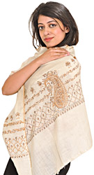 Ivory Stole from Kashmir with Sozni Hand-Embroidered Paisleys on Border