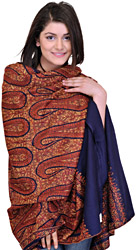 Twilight-Blue Jamdani Shawl from Kashmir with Sozni Embroidered Paisleys by Hand
