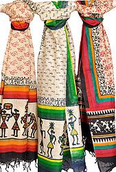 Lot of Three Dupattas from Jharkhand with Folk Warli Print
