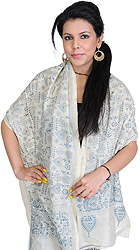 White-Asparagus Dupatta with Kantha Stitched Folk Figures Inspired by Warli Art