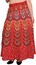 Block-Printed Sanganeri Wrap-Around Skirt from Pilkhuwa