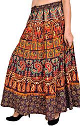 Sanganeri Long Skirt with Printed Elephants and Peacocks