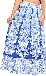 Wrap-Around Long Skirt with Block-Print in Pastel Colors