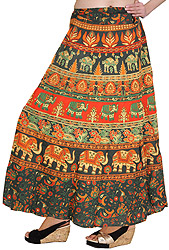 Wrap-On Long Skirt with Printed Elephants and Camels