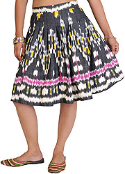 Black Mini-Skirt from Pochampally with Ikat Weave