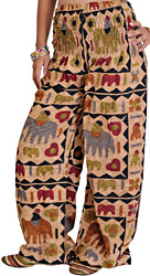 Tan-Brown Casual Stone-washed Trousers with Printed Elephants
