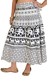 Black and White Wrap-Around Sanganeri Skirt with Printed Elephant and Deers