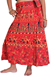 Wrap-Around Sanganeri Skirt with Printed Marriage Procession