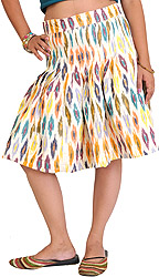 Snow-White Short Pleated Skirt from Pochampally with Ikat Weave