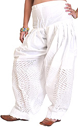 Chic-White Patiala Salwar with Chikan Embroidery