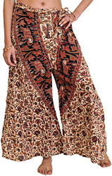 Casual Lavazzo Pants from Pilkhuwa with Printed Flowers and Elephants