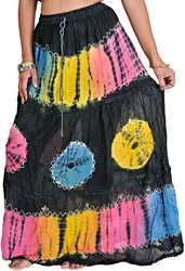 Jet Black Batik Skirt with Threadwork
