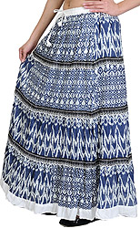 Mood-Indigo Long Skirt with Ikat Print and Lace