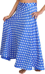 Blue Wrap-Around Skirt with All-Over Polka Printed Dots