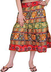 Multi-Color Midi Skirt from Gujarat with Crewel Embroidered Flowers