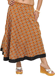 Golden-Oak Ghagra Skirt with All-Over Sequins and Beads