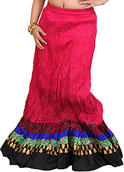 Long Ghagra Crinkled Skirt from Jodhpur with Patch Border