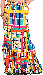 Multi-Colored Long Skirt with Printed Checks