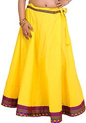 Daffodil Plain Long Ghagra Drawstring Skirt with Patch Border