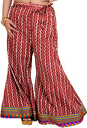 Apple-Butter Palazzo Pants from Pilkhuwa with Bagdoo Print and Patch Border