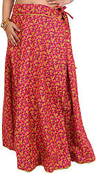 Drawstring Long Ghagra Skirt with Printed Leaves and Piping
