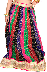Multi-Colored Long Ghagra Skirt From Jaipur with Patch Work and Wide Golden Border
