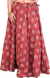 Earth-Red Long Ghagra Skirt with Bagdoo Printed Chakras and Piping