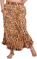 Leopard-Skin Midi Crinkled Skirt with Gota Border