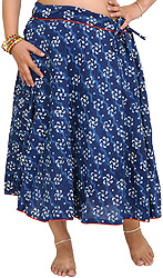 True-Navy Drawstring Midi Skirt with Bagdoo Printed Flowers and Piping