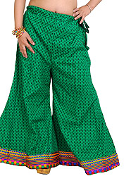 Deep-Mint Palazzo Pants from Pilkhuwa with Printed Bootis and Patch Border