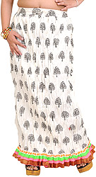Snow-White Crushed Elastic Long Skirts with Printed Trees and Gota Border