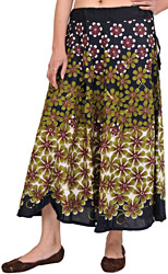 Black Midi-Skirt with Printed Flowers and Embroidered Sequins