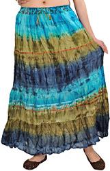 Batik-Dyed Tri-Colored Long Elastic Skirt