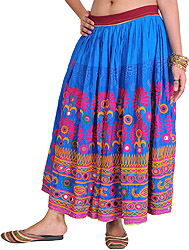 French-Blue Skirt from Kutch with Crewel-Embroidered Flowers and Mirrors