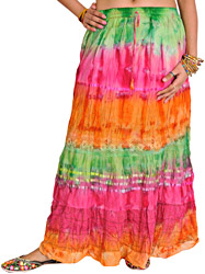Tri-Color Batik-Dyed Long Skirt