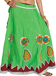 Ghagra Skirt from Gujarat with Embroidered Applique and Sequins