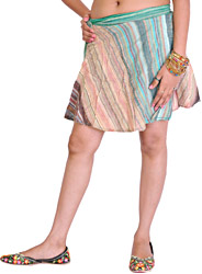 Triple-Shaded Wrap-Around Mini Skirt with Woven Stripes