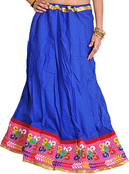 Plain Ghagra Skirt from Kutch with Embroidered Patch Border