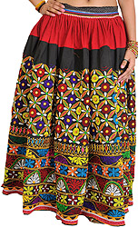 Black and Maroon Heavy Ghagra Skirt from Kutch with Floral Embroidery in Multicolor Thread