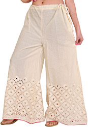 Ivory Plain Palazzo Pants with Cut-Work Embroidery on Border