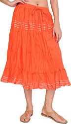 Plain Elastic-Waist Midi Skirt with Lace